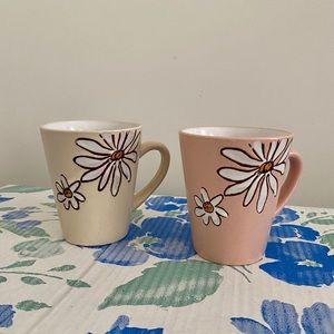 Boho terra-cotta pink/cream daisy coffee mugs